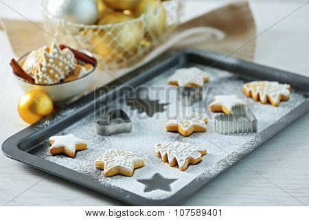 Beautiful Christmas cookies on oven-tray, close up