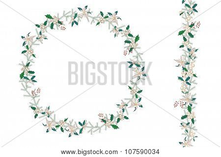 Round Christmas wreath with poinsettia isolated on white. Endless vertical pattern brush. For Christmas design, announcements, postcards, posters.