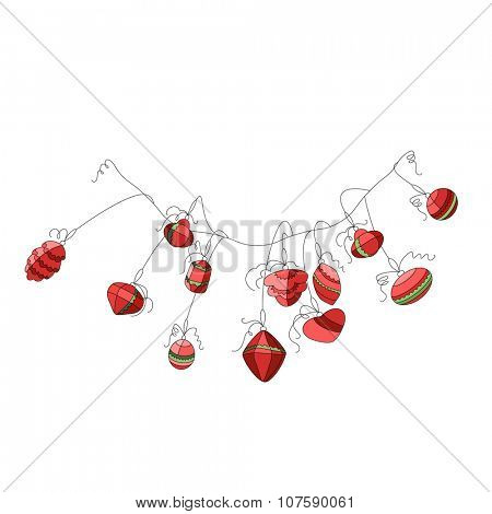 Garland with festive Christmas decorations. For your design,posters, greeting cards, invitations.
