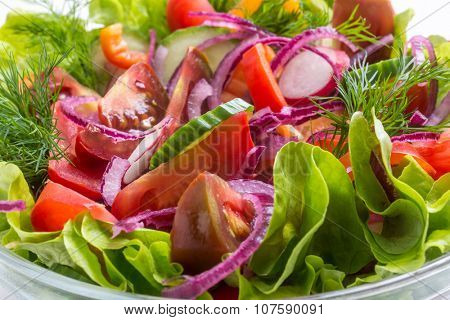 Bowl of Healthy Vegetable Salad Close Up