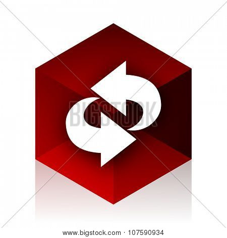 rotation red cube 3d modern design icon on white background