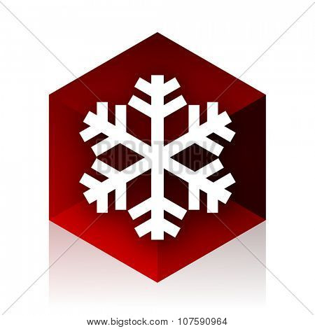 snow red cube 3d modern design icon on white background