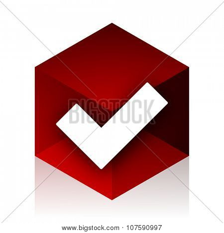 accept red cube 3d modern design icon on white background