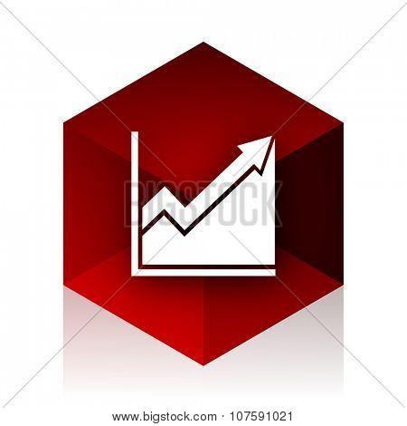 histogram red cube 3d modern design icon on white background
