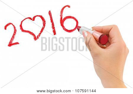 Hand with lipstick drawing 2016 isolated on white background