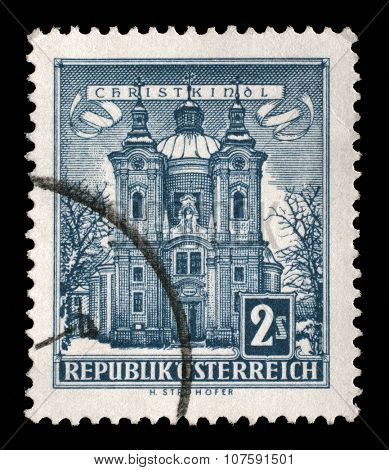 AUSTRIA - CIRCA 1958: a stamp printed in the Austria shows Christkindl Church, circa 1958