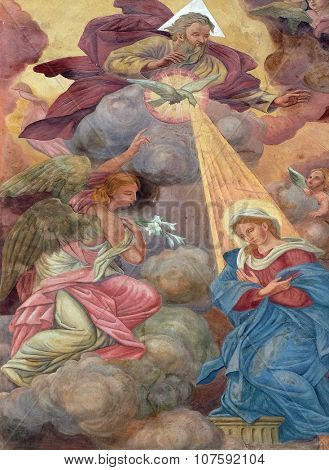 LJUBLJANA, SLOVENIA - JUNE 30: Annunciation of the Virgin Mary fresco on the facade of St Nicholas Cathedral in the capital city of Ljubljana, Slovenia on June 30, 2015