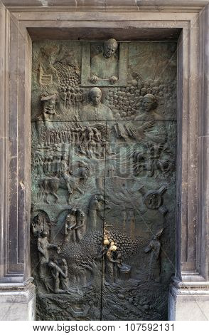 LJUBLJANA, SLOVENIA - JUNE 30: Bronze door on the Cathedral of St Nicholas in the capital city of Ljubljana, Slovenia on June 30, 2015
