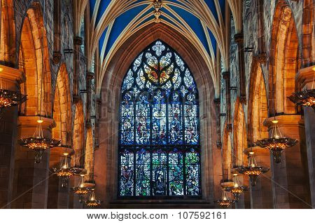Interiors of St Giles Cathedral in Edinburgh