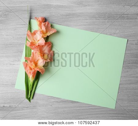 Blank card with beautiful gladiolus on wooden background