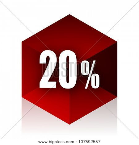 20 percent red cube 3d modern design icon on white background