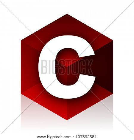 copyright red cube 3d modern design icon on white background