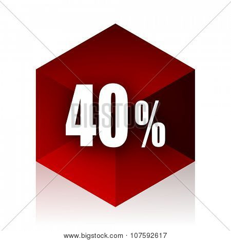 40 percent red cube 3d modern design icon on white background