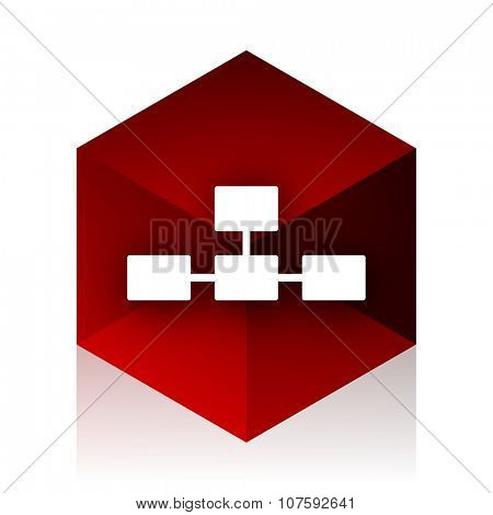 database red cube 3d modern design icon on white background