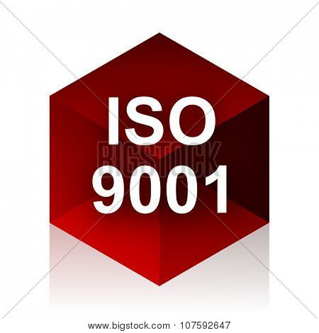 iso 9001 red cube 3d modern design icon on white background