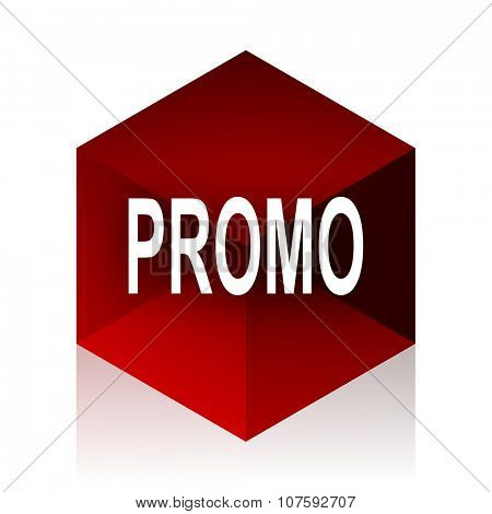 promo red cube 3d modern design icon on white background