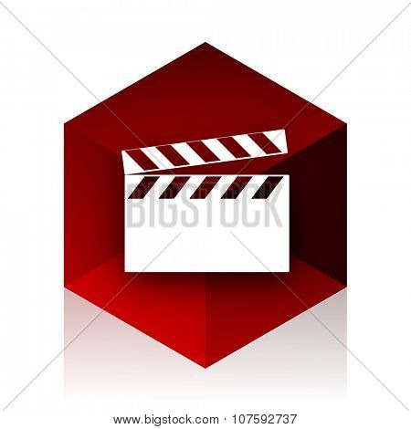 video red cube 3d modern design icon on white background