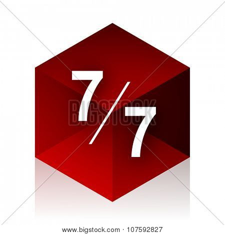 7 per 7 red cube 3d modern design icon on white background