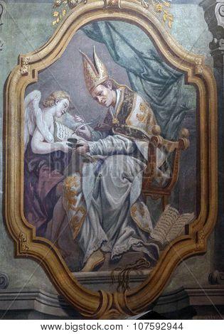 LJUBLJANA, SLOVENIA - JUNE 30: Fresco painting in the St Nicholas Cathedral in Ljubljana, Slovenia on June 30, 2015