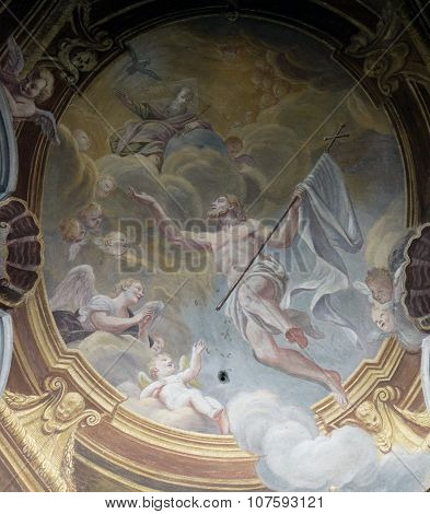 LJUBLJANA, SLOVENIA - JUNE 30: Ascension of Christ, fresco in the St Nicholas Cathedral in the capital city of Ljubljana, Slovenia on June 30, 2015