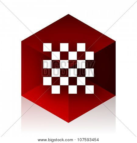 chess red cube 3d modern design icon on white background