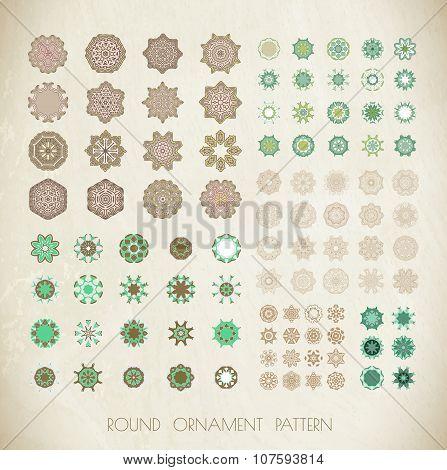 Big set of mandalas. Geometric circular ornament set.
