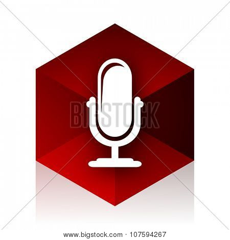microphone red cube 3d modern design icon on white background