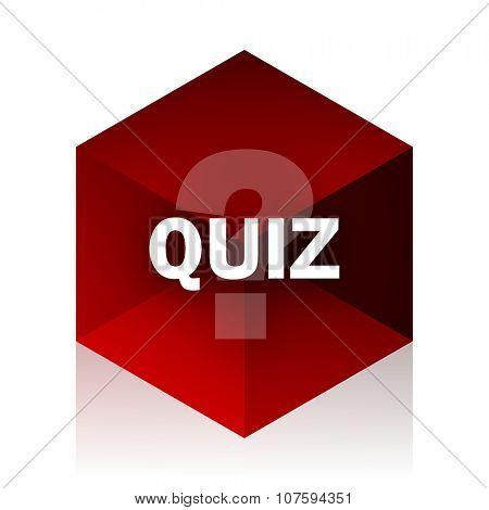 quiz red cube 3d modern design icon on white background