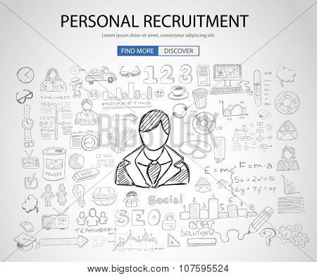 Personal recruitment concept  with Doodle design style :people inteview, skill testing, clear selection. Modern style illustration for web banners, brochure and flyers.