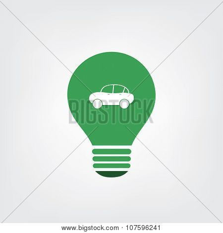 Green Eco Energy Concept Icon - Electric Car