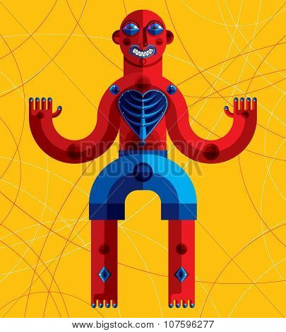 Meditation Theme Vector Illustration, Drawing Of A Creepy Creature Made In Modernistic Style.
