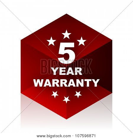 warranty guarantee 5 year red cube 3d modern design icon on white background