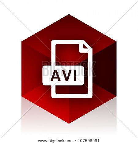 avi file red cube 3d modern design icon on white background