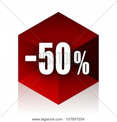 50 percent sale retail red cube 3d modern design icon on white background