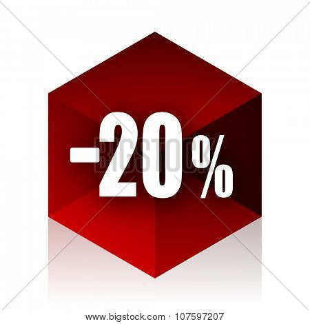 20 percent sale retail red cube 3d modern design icon on white background