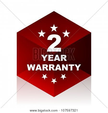 warranty guarantee 2 year red cube 3d modern design icon on white background