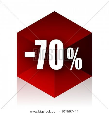 70 percent sale retail red cube 3d modern design icon on white background