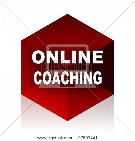 online coaching red cube 3d modern design icon on white background