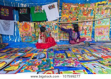 Two Girls Are Selling Handicrafts In Pingla Village, West Bengal, India