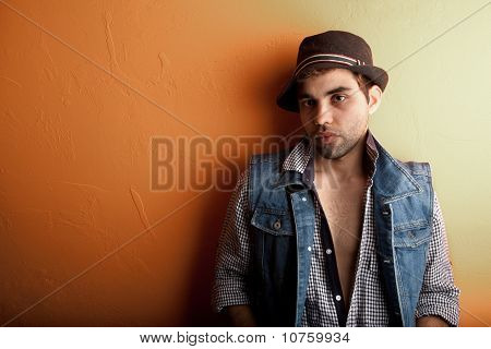 Sexy Gay Man In Jeans And Hat