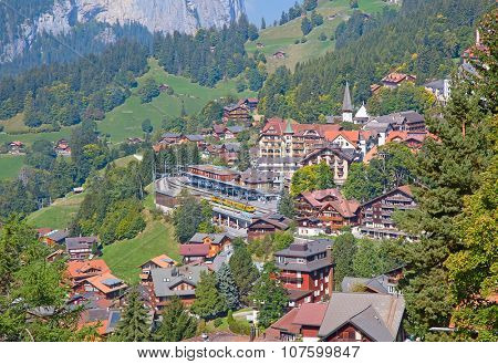 Famous village Wengen in swiss alps - starting point for train tours in the Jungfrau region