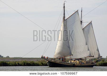 Vintage wooden sailing boat