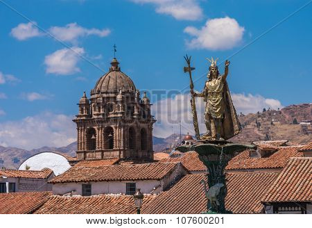 Inca Pachacutec Fountain In The Plaza De Armas Of Cusco, Peru