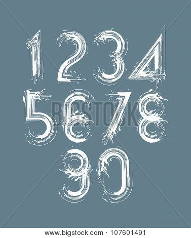 Calligraphic Brush Numbers On Dark Background, Hand-painted White Vector Numeration.