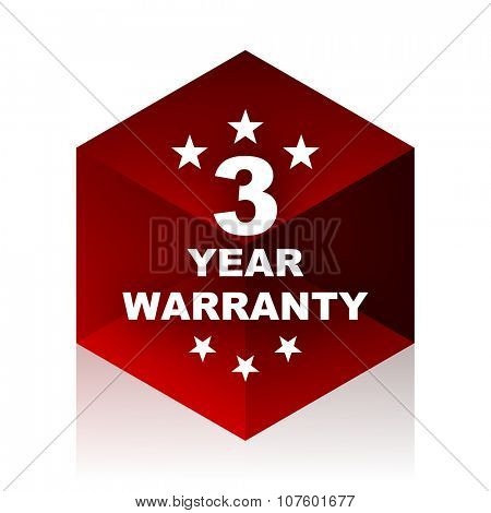 warranty guarantee 3 year red cube 3d modern design icon on white background