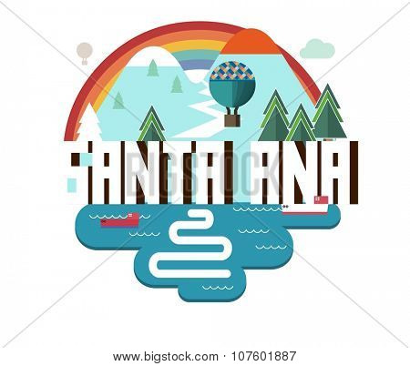 Santa Ana city travel destination in USA. vector cartoon,