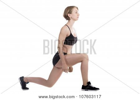 Sporty Woman Doing Low Lunges