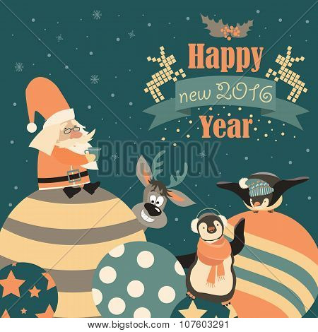 Funny penguins with Santa Claus celebrating Christmas