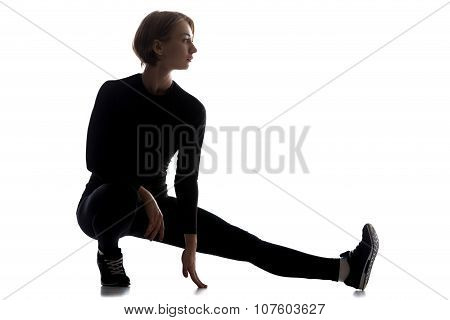 Slim Woman Doing One-legged Squat