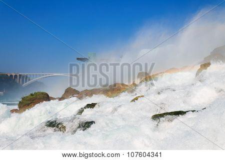 American Side Of Niagara Falls With Rainbow